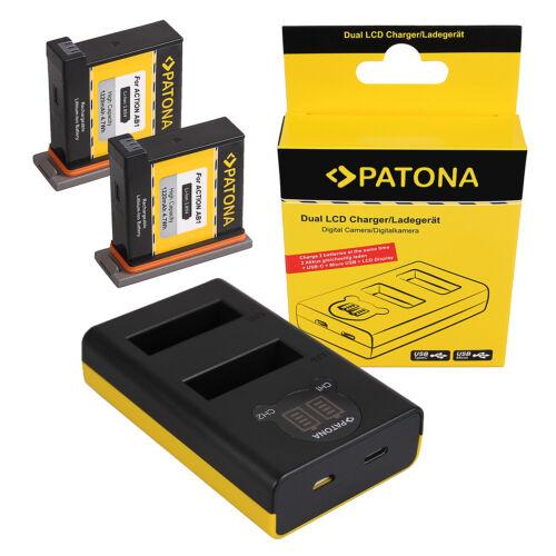 2x Batteria Patona caricabatteria rapido DUAL LCD per Osmo Action Kamera AB1