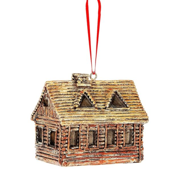 Log Cabin Retreat Lake House Christmas Tree Ornament