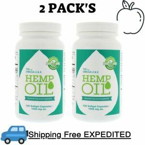 2 Pack's Manitoba Harvest Hemp Oil, 120 Softgel Capsules  720 mg Omega-3 & 6