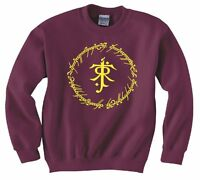 "LORD OF THE RINGS/ THE HOBBIT ""TOLKIEN RING INSCRIPTIONS"" SWEATSHIRT NEW"