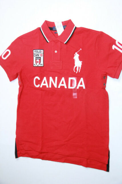 0994bf5d04e2b Polo Ralph Lauren Men Red Shirt Big Pony Canada Flag XLarge XL CUSTOM FIT