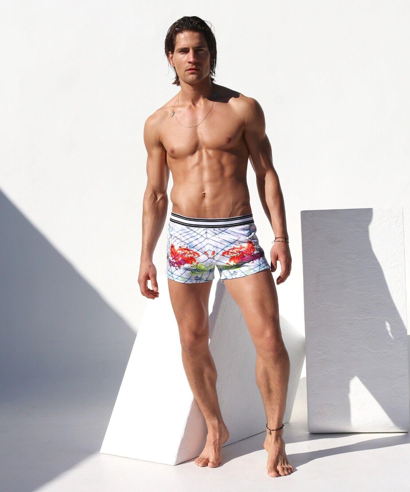 Kinetic Rufskin men shorts Weiß print gym beach summer - - - New Arrival - 39493b