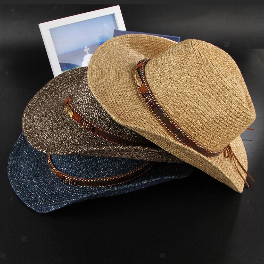 Cowboyhut aus Stroh mit veganem Lederband und Perlen, formbare Krempe, Strand