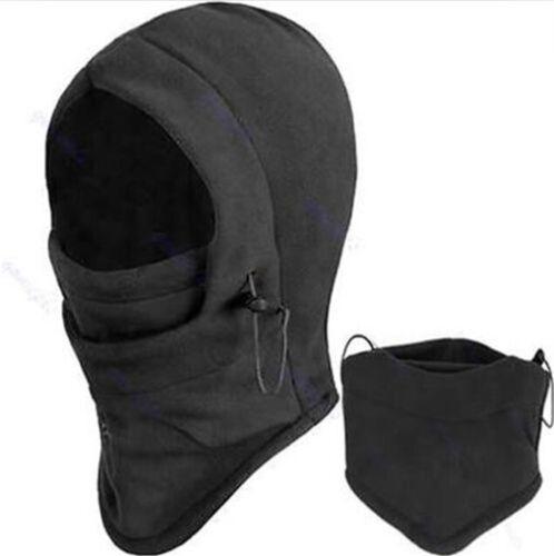 UNISEX Black SNOOD 4in1 Fleece scarf Hood Balaclava Neck Winter warmer MASK cn