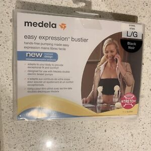Medela Easy Expression Bustier Hands Free Pumping Bra New White Black S M L XL