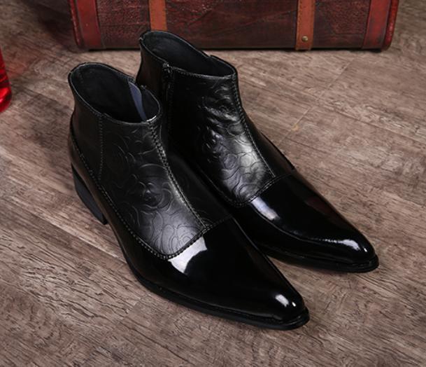 botas al tobillo para Hombre de vestir Formales Cuero Cremallera bajo grueso cuero calado en Punta Zapatos Talla