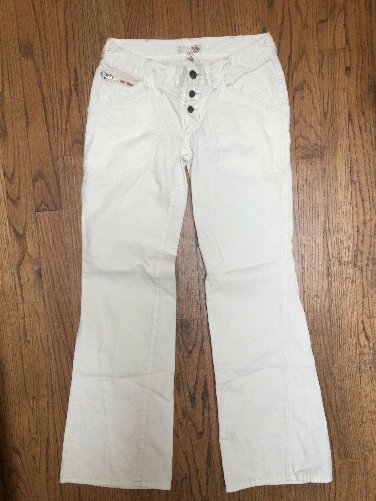 JOIE OFF WHITE FLARE BUTTON FLY COTTON JEAN SZ 2 NWOT