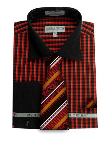 DANIEL ELLISSA Casual Dress Shirt Tie /& Hanky Cuff Links Luxury DN70