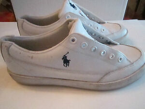 VINTAGE-POLO-LEATHER-BOAT-SHOES-WHITE-SIZE-9-D