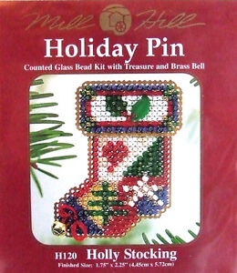 Mill-Hill-Cross-Stitch-Bead-Kit-Pin-Christmas-039-Holly-Stocking-039-H120