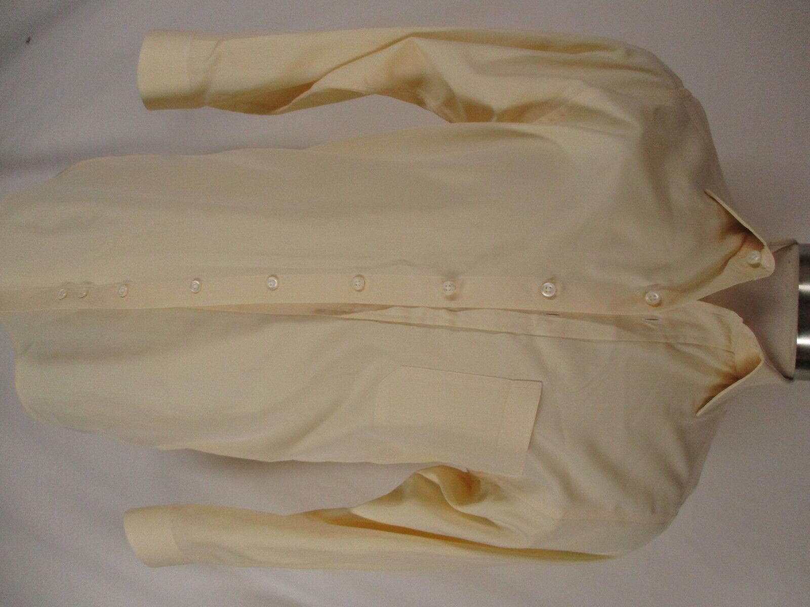 Paul Stuart Mens Yellow Long Sleeve Cotton Dress Shirt 15-33