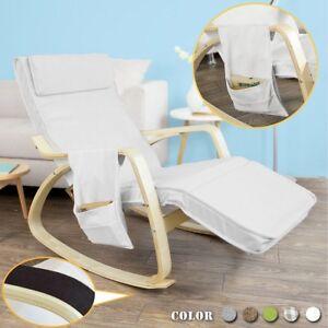 sobuy rocking chair fauteuil bascule ber ante avec repose pieds fst18 w fr ebay. Black Bedroom Furniture Sets. Home Design Ideas