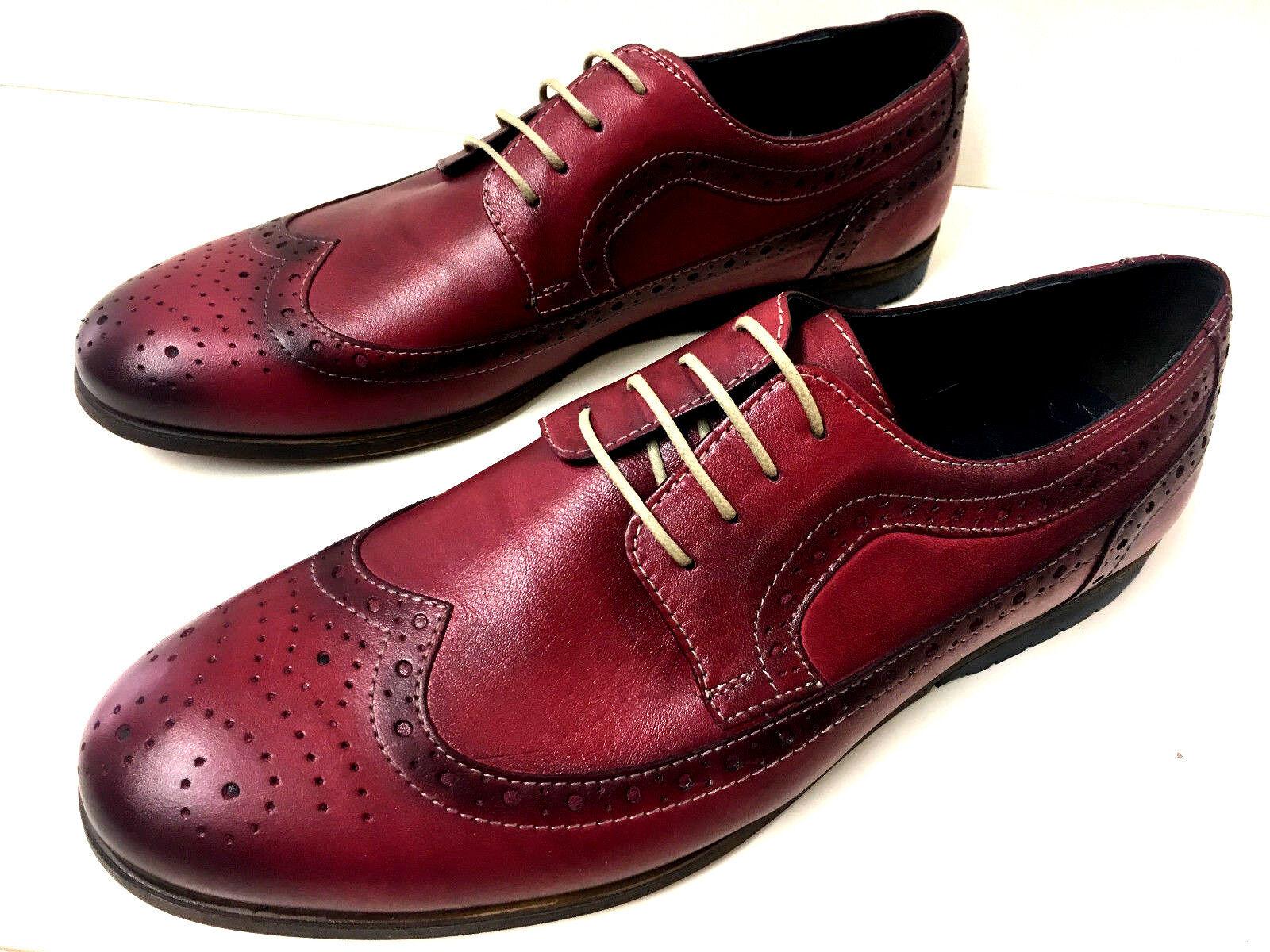Nuevo Moda Rojo Burdeos Mocasín Mocasín Cuero Budapest Zapatos con Cordones