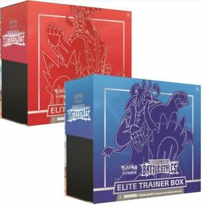 Battle-Styles-Sword-amp-Shield-Elite-Trainer-Box-Pokemon-Set-of-2-Red-and-Blue