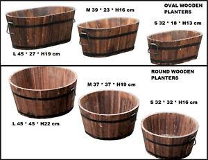 Burnt Wood Half Whiskey Barrel Wooden Planters Plant Pot Outdoor Garden