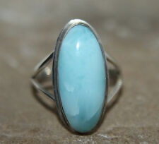 Larimar ring 925 Sterling Silver Lovely Oval Ring approx P 1/2  US 8