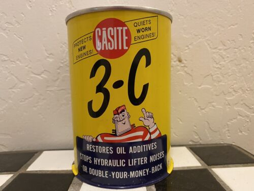 """VINTAGE CASITE /""""3-C/"""" 1 PINT ADVERTISING OIL CAN SIGN DISPLAYS WELL"""