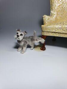 OOAK-Realistic-schnauzer-dog-Dollhouse-Handmade-IGMA-ARTISAN