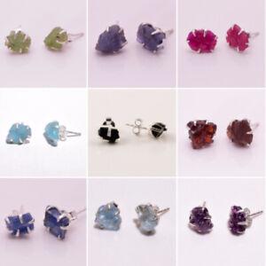 925-Solid-Sterling-Silver-prong-Stud-Earrings-Raw-Gemstone-Women-Jewelry-RSSE19c