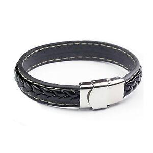 037c1c1d5f71f Image is loading Bracelet-Hommes-Tresse-Cuir-Authentique-Cuir-Bracelet-Mode-