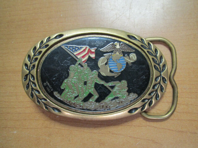 Military Belt Buckle metal USMC Marine Corps at Iwo Jima NEW Made in USA