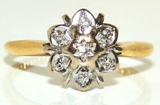 18CT YELLOW GOLD  DIAMOND CLUSTER DAISY FLOWER SNOW FLAKE STYLE LIFETIME RING