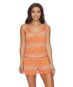 7741fdab41a Splendid Orange Sun Sational Stripe Swimsuit Cover Up Romper Small S ...