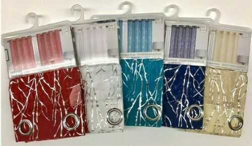 SET OF 2 MARTINA GROMMET TOP CURTAINS WITH SILVER METALLIC ACCENT