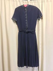 f2776426a Vintage L'aiglon Navy Blue Dress Grosgrain Ribbon Accent Short ...