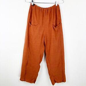 Skif-Pull-on-Pants-Orange-Cropped-Crop-One-Size-Front-pockets-Drawstring