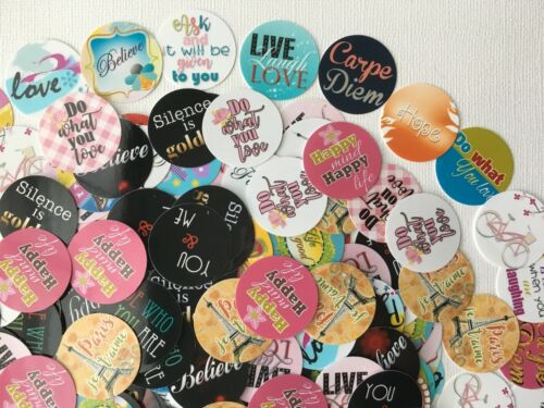 """Quotes and Sayings 1/"""" circles PRECUT Bottle Cap Images Free Shipping"""