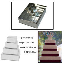 Set of 4 Tier Rectangle Multilayer Birthday Wedding Anniversary Cake Tins / Cake
