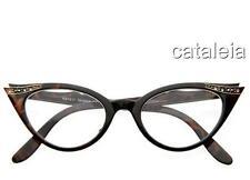 NEW VINTAGE NERD GLASSES CLEAR LENS CAT EYE TORTOISE BROWN RHINESTONE EYEGLASSES