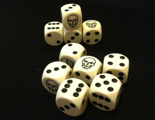 for RPGs D6 D/&D and other Tabletop Games Ten Custom Skull Six-Sided Game Dice