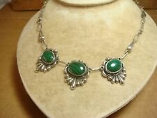 sterling silver 925 tribal necklace chain vint taxco green malachite GCOI SIGNED