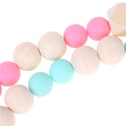 Candy Farbe Schnuller Clip Kette Halter Holz Silikon Perlen Nippel Dummy Ha U/_M