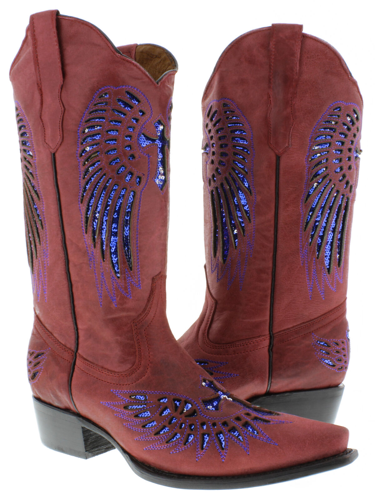 Donna Rosso Blue Cross Sequins Leather Cowgirl Boots Pointed Toe