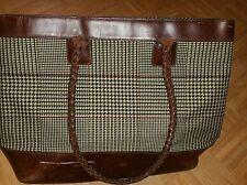 VTG RALPH LAUREN Oversized Tote Lge Shoulder Bag Houndstooth Plaid Leather AS-IS