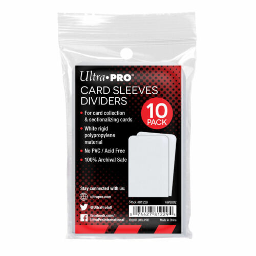 10 x Ultra Pro Trading Card Sleeves Dividers Semi Rigid White Index Card Storage