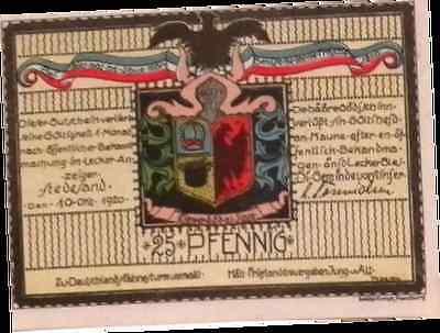Banknote 1920 Germany STEDELAND 25 Pnennig  Notgeld