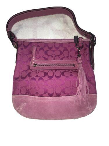 Vintage Coach Shoulder Bag- Pink Suede Leather Bot