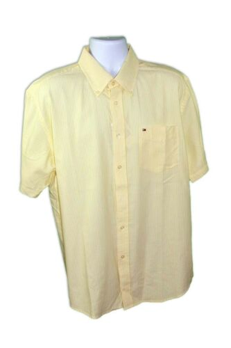 Tommy Hilfiger Men/'s Yellow Cotton Regular Fit Button Down Striped Dress Shirt L