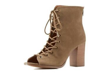 92b5df23665 Image is loading NEW-CHARLOTTE-RUSSE-LACE-UP-CHUNKY-SANDALS-SIZE-