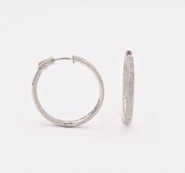 """1/"""" Inside Out Pave CZ Hoop Earrings 14K White Gold Clad Silver 925"""