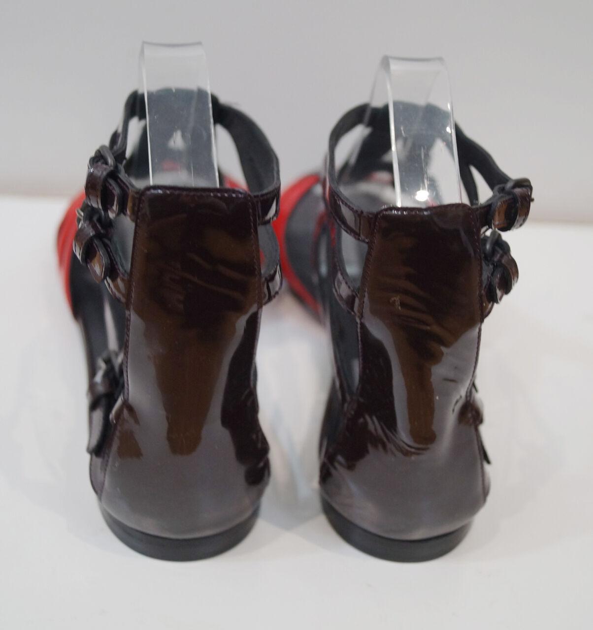 Bottega Veneta Bourgogne marron & rouge rouge rouge Plates Gladiateur Sandales Chaussures EU40 UK7-NEUF 6f775b