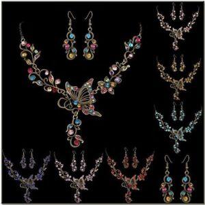 Charming-Retro-Crystal-Butterfly-Women-wedding-Necklace-Earrings-Jewelry-Set-New