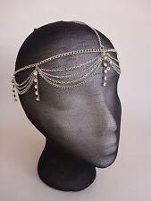 Head Chain Metal Hair Jewelry Circlet Silver with Rhinestone - Rennasaince