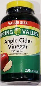Spring Valley Apple Cider Vinegar Dietary Supplement Capsules 450mg-250 Capsules
