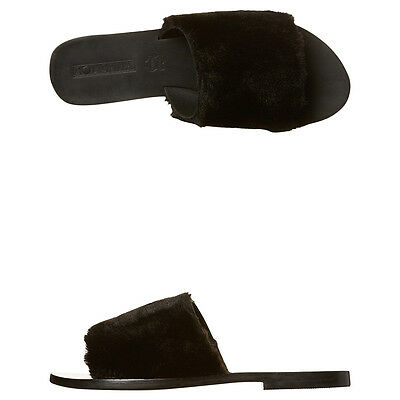 New Sol Sana Women's Teresa Womens Fur Slide Synthetic Womens Shoes Black