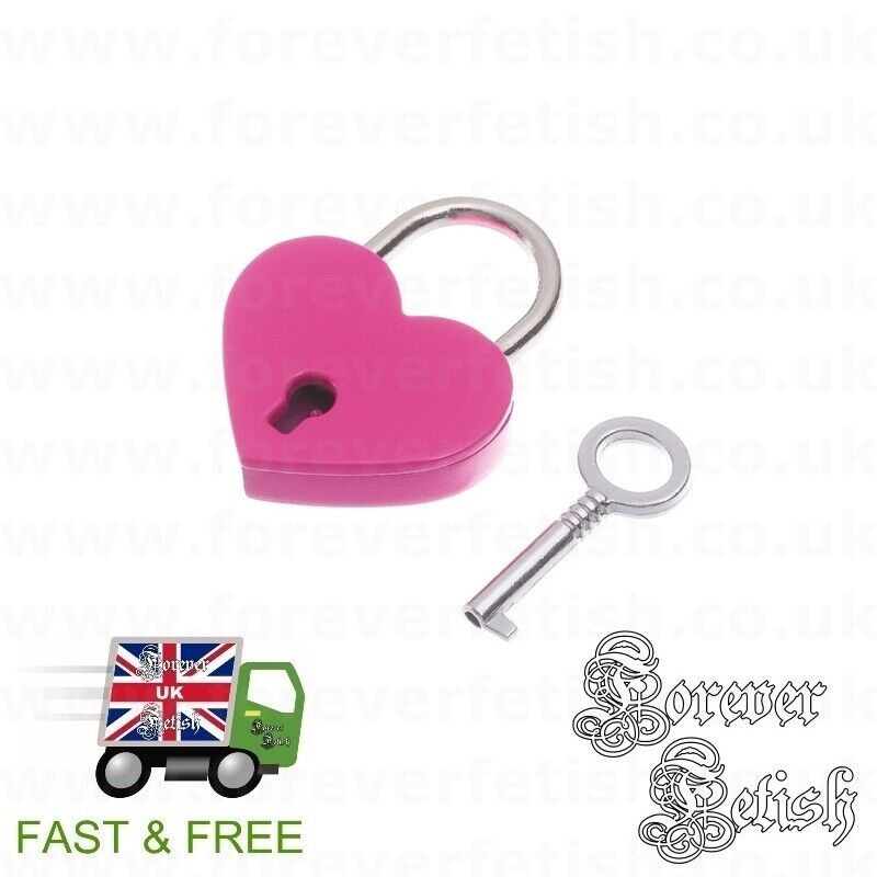 Hot Pink Heart Padlock for Chokers Lockable Collars Bondage Restraints BDSM